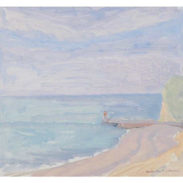 Original, unique and contemporary oil painting on paper of a misty view of a Normandy beach in France. The colors are...