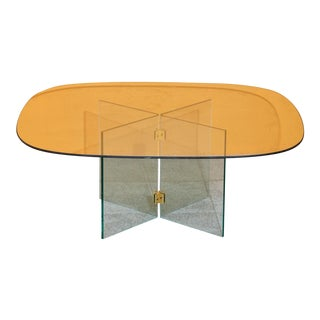 Glass Coffee Table With Brass Brackets For Sale