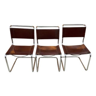 Mart Stam Tubular Chrome and Leather Chairs- Set of Three For Sale