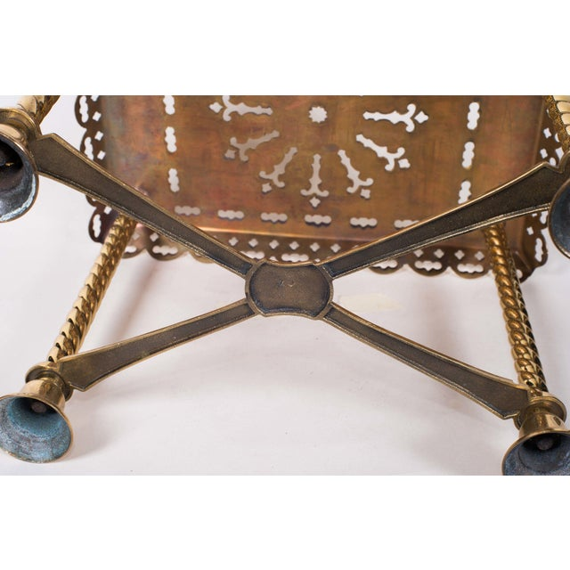 19th Century Antique Brass Fireplace Rectangular Kettle Trivet W/ Crossbars, Bell Shaped Feet, Pierced Top & Sides For Sale - Image 9 of 10