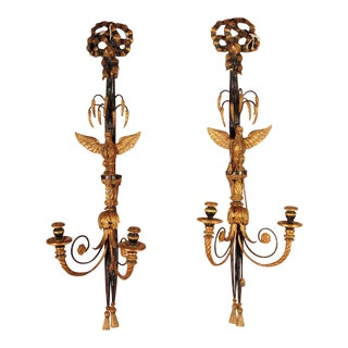 French Empire Hand Carved Eagle Wall Sconces Candle Holders - a Pair For Sale