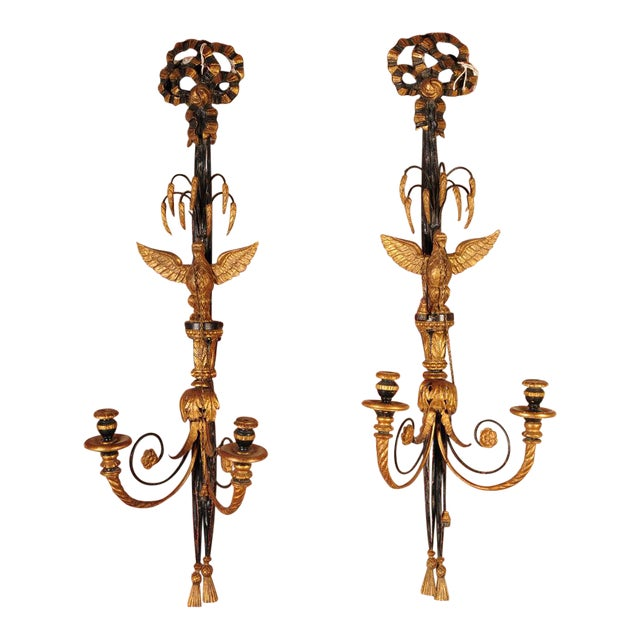 Hand Carved French Empire Eagle Wall Sconces Candle Holders-Pair For Sale