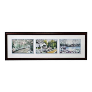 Vintage Framed Tri Panel Landscape Cottage Prints by Diane Romanello For Sale