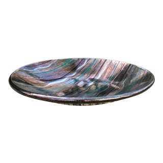 1980s Contemporary Hand-Thrown Ceramic Bowl With Metallic Glaze For Sale