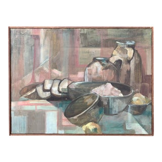 Original Mid Century Abstract Still Life Oil Painting For Sale