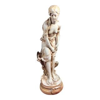"Vintage Alexander Backer Statue Chalkware Moreau's ""Le Ruisseau"" Outdoor Statue For Sale"