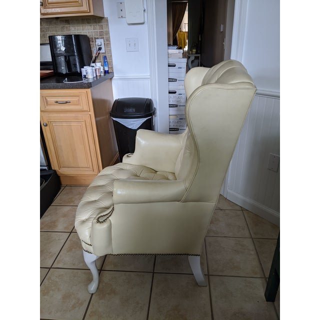 Hollywood Regency Mid-Century Chesterfield Tufted White Leather Wingback Chair For Sale - Image 3 of 9