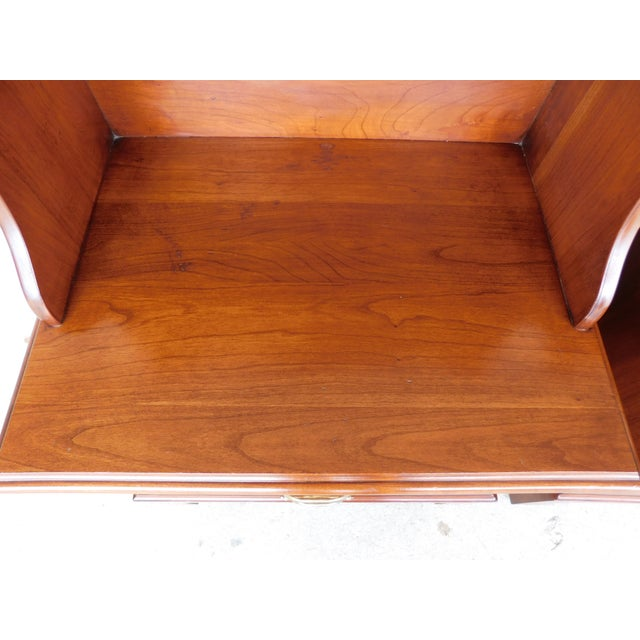 Late 20th Century Henkel Harris Chippendale Style Cherry Nightstands - a Pair For Sale - Image 5 of 11