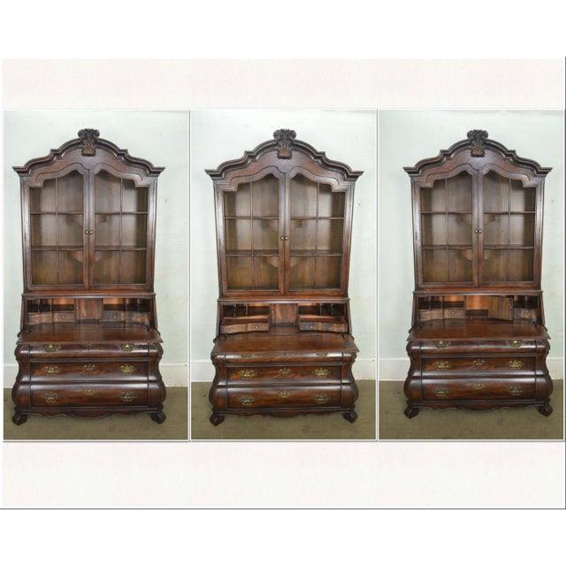 Henredon Henredon Four Centuries Baroque Style Bombe Oak Secretary Desk For Sale - Image 4 of 12