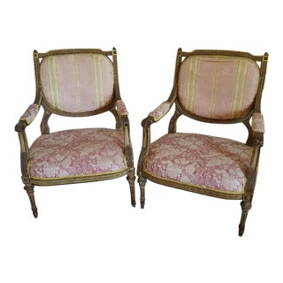 Antique French Louis 16th Style Bergere Chairs - A Pair For Sale