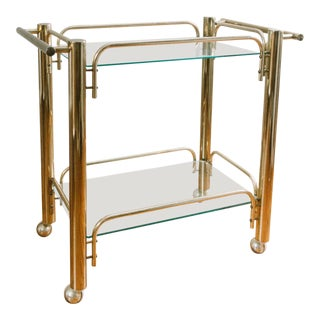 Vintage Chunky Brass & Glass Bar Cart