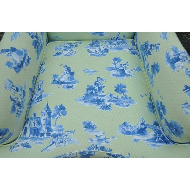 Mid 20th Century Drexel Heritage Vera Bradley Rolled Arm French Country Club Chair & Ottoman For Sale - Image 5 of 13