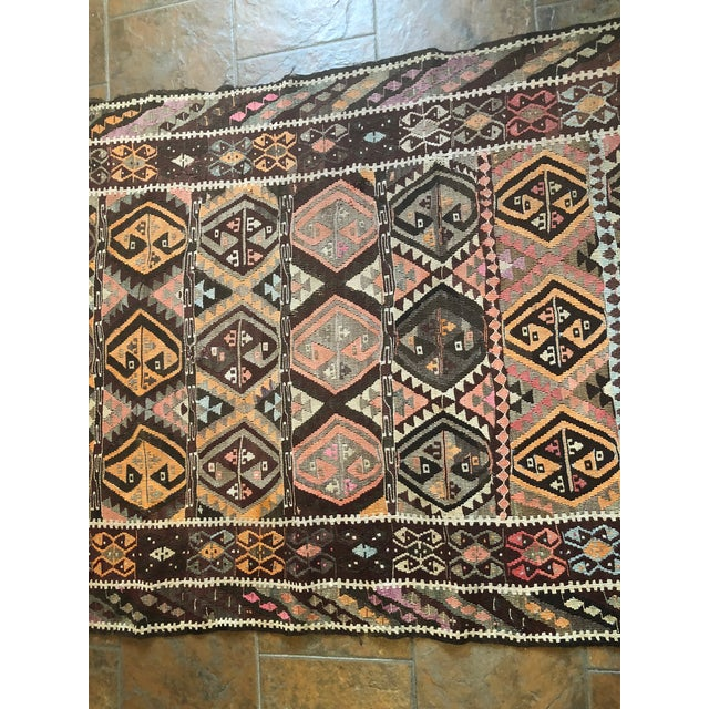 Mid 20th Century Antique Earth Tones Kilim Rug - 4′ × 9′ For Sale - Image 5 of 11