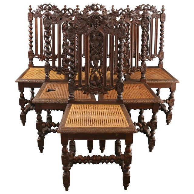 Antique Renaissance-Style Hunt Chairs - Set of 6 For Sale