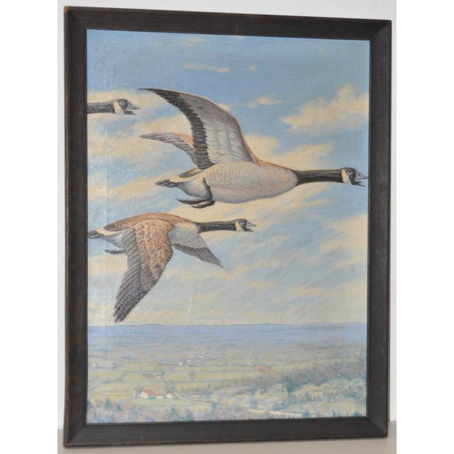 """Walter Hemenway Original Oil Painting """"Geese in Flight"""" c.1940. Original oil on canvas painting by noted sporting &..."""