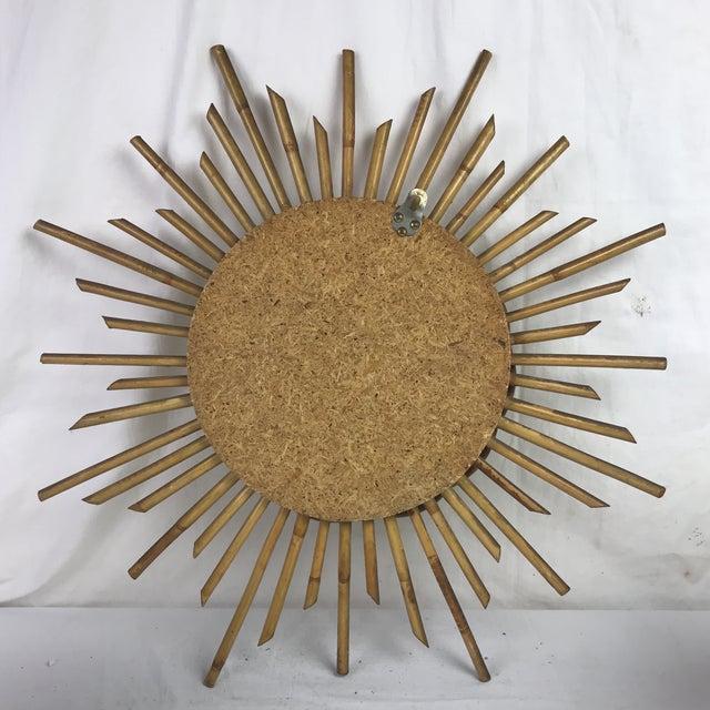 French Mid-century Rattan Sunburst Mirror - Image 2 of 3