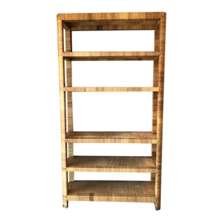 1970's Hollywood Regency Bielecky Brothers Rattan Wrapped Etagere For Sale