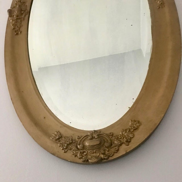 Vintage Beveled Oval Gilt Mirror For Sale - Image 4 of 7