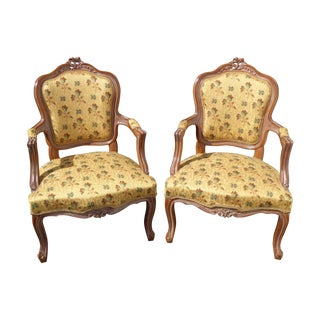 French Country Gold Floral Carved Armchairs - a Pair For Sale