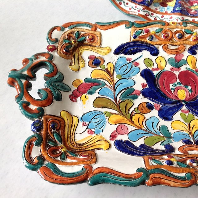 Hand-Painted Majolica Pottery Bowl & Tray - Image 9 of 11