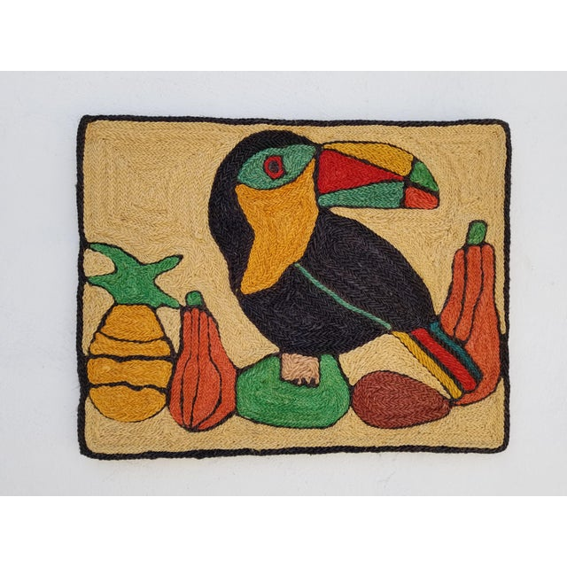 1970s Mid-Century Modern Hand-Woven Sign of Alexander Calder Era Toucan With Fruit Tapestry For Sale - Image 9 of 9