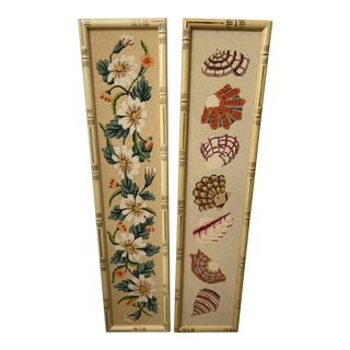 Vintage Florida Coastal Needlepoint Faux Bamboo Frameworks Wall Hanging - a Pair For Sale