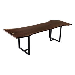 Modern Black Walnut Live Edge Dining Table / Table For Sale