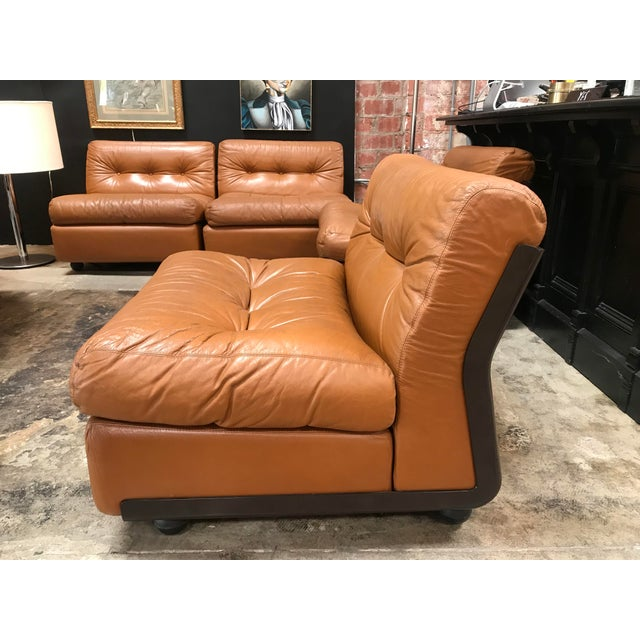 """Leather 1960s """"Amanta"""" Sectional Chairs by Mario Bellini for B&b Italia - Set of 4 For Sale - Image 7 of 13"""