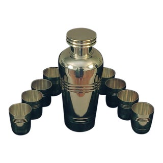 French St. Medard Art Deco Era Silver Cocktail Shaker and Cups - 9 Piece Set For Sale