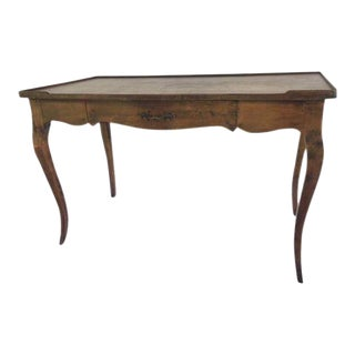 Louis XV Single Drawer Provincial Style Stained Wood Bureau Plat For Sale