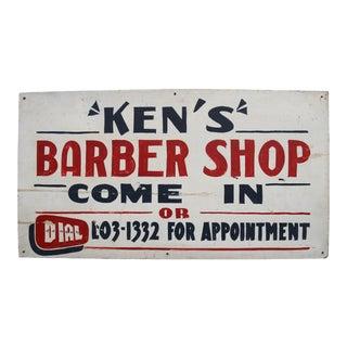 Circa 1950s Ken's Barber Shop Sign For Sale