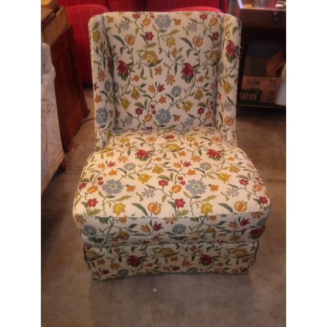 20th Century Shabby Chic Floral Print Accent Chair For Sale In Wichita - Image 6 of 7