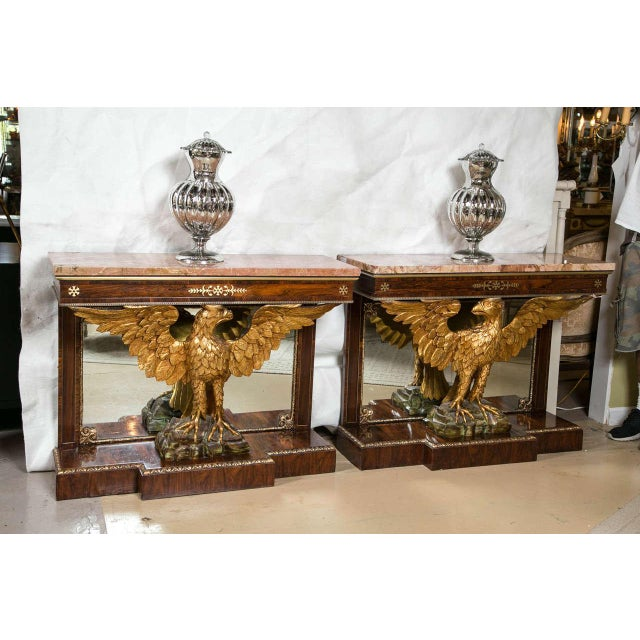 Gilt Opposing Eagle Console Tables - Pair For Sale - Image 7 of 10