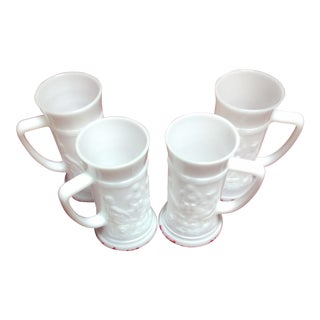 Collection of Milk Glass Mugs - Set of 4 For Sale