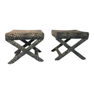 Lovely Pair of Leopard Print X-base Stools or Benches For Sale