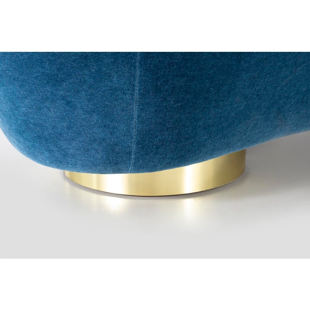 Blue Vladimir Kagan for Directional Cloud Sofa Freshly Reupholstered in Mohair For Sale - Image 8 of 9