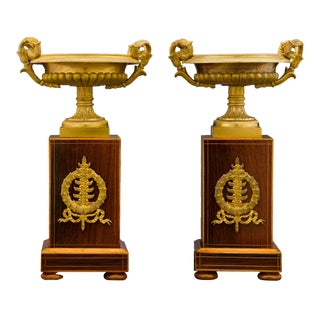 Charles X Bronze and Inlaid Urns For Sale