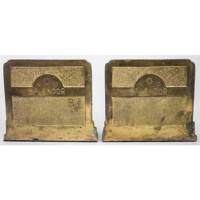 1920s Pompeian Bronze Co. Art Nouveau Peacock Bookends - a Pair For Sale - Image 5 of 8