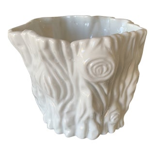 Vintage Mid Century Milk Glass Faux Bois Planter For Sale