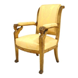 French Empire Upholstered Arm Chair For Sale