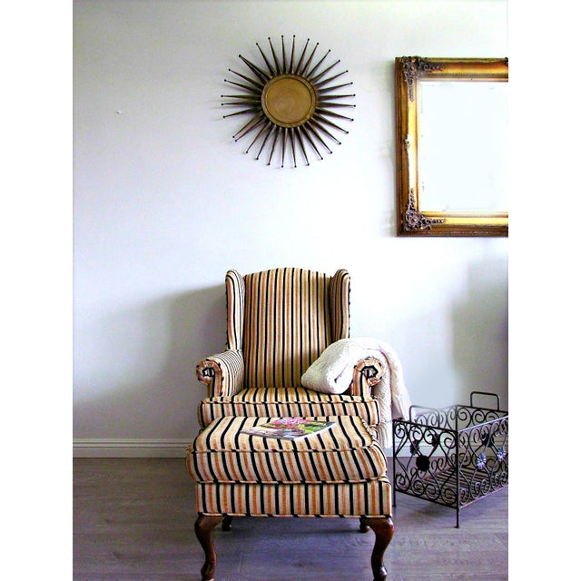 Wing-Back Striped Chair With Ottoman - Image 3 of 5
