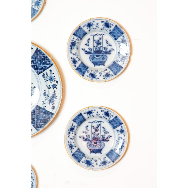 Chinese Flower Basket / Blue and White Delft Plates / Group of Seven For Sale In Dallas - Image 6 of 13