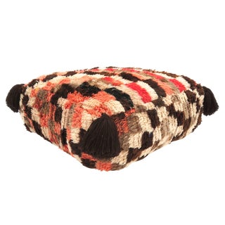 1970s Moroccan Brown and Light Pink Wool Floor Pouf