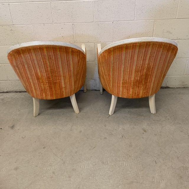 Vintage French Style Barrel Back Chairs- a Pair For Sale - Image 4 of 13