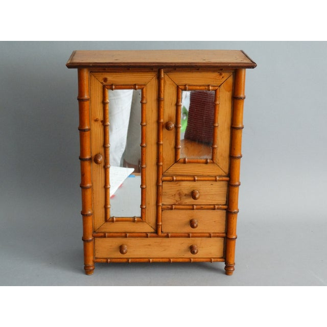 Brown Diminutive Faux Bamboo Armoire For Sale - Image 8 of 8