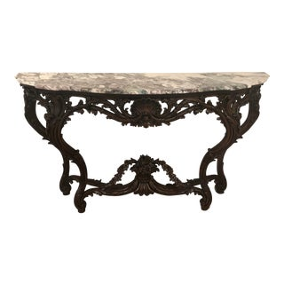 Italian Hand Carved Wood Console With Marble Top For Sale