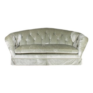 Baker Furniture Company Tufted Sage Green Velvet Cabriole Sofa For Sale