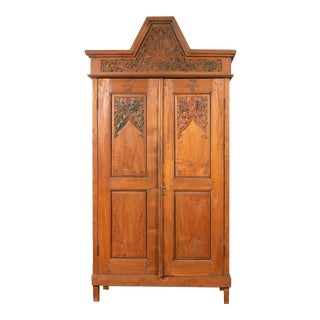Antique Dutch Colonial Armoire with Low-Relief Carved Painted Birds and Foliage For Sale