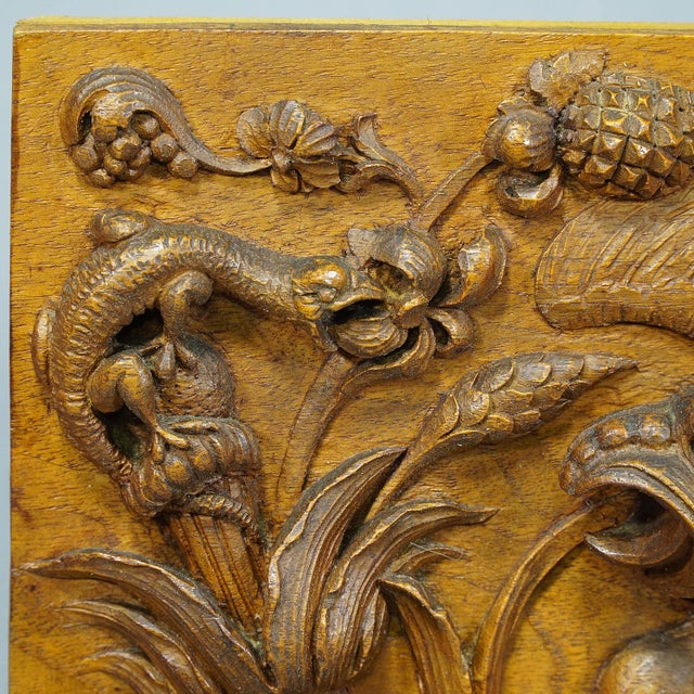 Wooden Carved Panel With Gargoyle and Lizard, Germany Ca. 1920 For Sale - Image 6 of 7