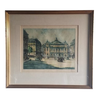 C. 1920's Marcel Julien Baron Signed Hand Colored Etching